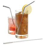 RSVP Endurance 18/8 Stainless Steel Drink Straw, Set of 4 with 2 Cleaning Brushes