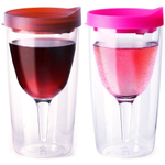 Vino2Go Merlot and Pink 10 Ounce Insulated Wine Tumblers With Drink Through Lid, Set of 6