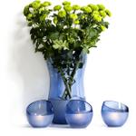 Sagaform 4 Piece Blue Aqua Wave Vase and Tea Light Set