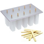 Progressive White Plastic Frozen Pop Maker with Free 50 Wooden Sticks
