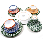 Sobremesa Fairtrade Fez Collection 12 Piece Hand Made Multicolor with Green Ceramic Dinnerware Set, Service for 4
