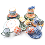 Sobremesa Fairtrade Fez Collection 32 Piece Hand Made Multicolor with Green Ceramic Dinnerware Set, Service for 8