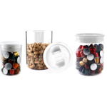 Click Clack Clear Pantry Canister with White Lid, Set of 3