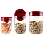 Click Clack Clear Pantry Canister with Red Lid, Set of 3