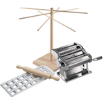 Atlas Stainless Steel 5 Piece Pasta Machine Set with 24 Square Ravioli Mold, Rolling Pin, Pasta Bike, and Drying Rack