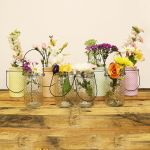 Sunday Morning Home 8 Piece Large Mixed Clear and Pastel Glass Hobnail Jar Set with Hangers