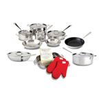 All-Clad 18/10 Stainless Steel 15 Piece Cookware Set with Cookbook and Oven Mitts