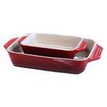 Le Creuset Stoneware Cerise Cherry 2 Piece Rectangular Casserole Dish Set
