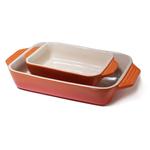 Le Creuset Stoneware Flame 2 Piece Rectangular Casserole Dish Set