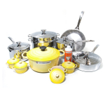Le Creuset 20 Piece Stainless Steel Cookware Set with Soleil Yellow Enameled Cast Iron 5.5 Quart French Oven