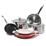 Le Creuset 8 Piece Tri-Ply Stainless Steel and Heritage Cherry Cookware Set
