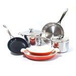Le Creuset 8 Piece Tri-Ply Stainless Steel and Heritage Flame Cookware Set