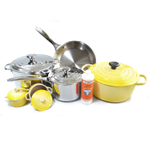 Le Creuset 11 Piece Soleil Yellow Enameled Cast Iron & Tri-Ply Stainless Steel Cookware Set