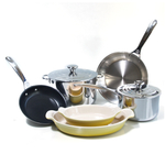 Le Creuset 8 Piece Tri-Ply Stainless Steel and HeritageSoleil Yellow Cookware Set
