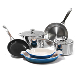 Le Creuset 8 Piece Tri-Ply Stainless Steel and HeritageMarseille Blue Cookware Set