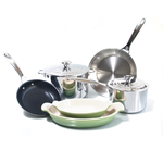 Le Creuset 8 Piece Tri-Ply Stainless Steel and HeritagePalm Cookware Set