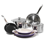 Le Creuset 8 Piece Tri-Ply Stainless Steel and Heritage Cassis Cookware Set