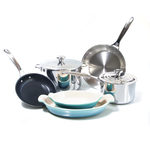 Le Creuset 8 Piece Tri-Ply Stainless Steel and Heritage Caribbean Cookware Set