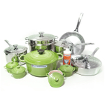 Le Creuset 20 Piece Stainless Steel Cookware Set with Palm Enameled Cast Iron 5.5 Quart French Oven