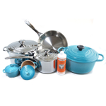 Le Creuset 11 Piece Caribbean Enameled Cast Iron & Tri-Ply Stainless Steel Cookware Set