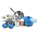 Le Creuset 11 Piece Marseille Blue Enameled Cast Iron & Tri-Ply Stainless Steel Cookware Set