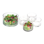 Artland Simplicity Glass Cylinder Salad Serving Bowl 5 Piece Set, Service for 4