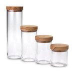 Berard Glass Jar with Olive Wood Lid, Set of 4