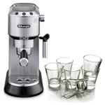 DeLonghi Dedica Stainless Steel Pump Espresso and Cappucino Machine with Free Set of 6 Italian Espresso Glasses