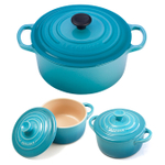 Le Creuset Signature Caribbean Enameled Cast Iron 3.5 Quart Round French Oven with 2 Free Stoneware Cocottes