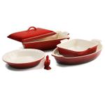 Le Creuset 6 Piece Cherry Stoneware Heritage Bakeware Set
