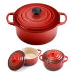 Le Creuset Signature Cherry Enameled Cast Iron 3.5 Quart Round French Oven with 2 Free Stoneware Cocottes