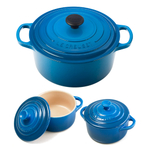 Le Creuset Signature Marseille Blue Enameled Cast Iron 3.5 Quart Round French Oven with 2 Free Stoneware Cocottes