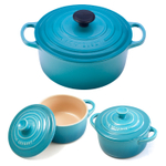Le Creuset Signature Caribbean Enameled Cast Iron 4.5 Quart Round French Oven with 2 Free Stoneware Cocottes