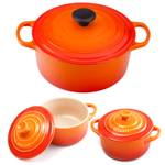 Le Creuset Signature Flame Enameled Cast Iron 4.5 Quart Round French Oven with 2 Free Stoneware Cocottes