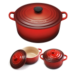 Le Creuset Signature Cherry Enameled Cast Iron 7.25 Quart Round French Oven with 2 Free Stoneware Cocottes