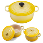 Le Creuset Signature Soleil Yellow Enameled Cast Iron 5.5 Quart Round French Oven with 2 Free Stoneware Cocottes