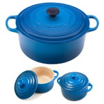Le Creuset Signature Marseille Blue Enameled Cast Iron 9 Quart Round French Oven with 2 Free Stoneware Cocottes