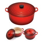 Le Creuset Signature Cherry Enameled Cast Iron 9 Quart Round French Oven with 2 Free Stoneware Cocottes