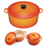 Le Creuset Signature Flame Enameled Cast Iron 9 Quart Round French Oven with 2 Free Stoneware Cocottes