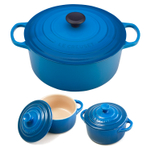 Le Creuset Signature Marseille Blue Enameled Cast Iron 7.25 Quart Round French Oven with 2 Free Stoneware Cocottes