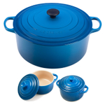 Le Creuset Signature Marseille Blue Enameled Cast Iron 13.25 Quart Round French Oven with 2 Free Stoneware Cocottes