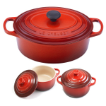 Le Creuset Signature Cherry Enameled Cast Iron 5 Quart Oval French Oven with 2 Free Stoneware Cocottes