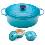Le Creuset Signature Caribbean Enameled Cast Iron 6.75 Quart Oval French Oven with 2 Free Stoneware Cocottes