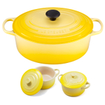Le Creuset Signature Soleil Yellow Enameled Cast Iron 6.75 Quart Oval French Oven with 2 Free Stoneware Cocottes