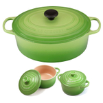 Le Creuset Signature Palm Enameled Cast Iron 6.75 Quart Oval French Oven with 2 Free Stoneware Cocottes