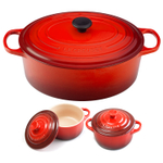Le Creuset Signature Cherry Enameled Cast Iron 9.5 Quart Oval French Oven with 2 Free Stoneware Cocottes