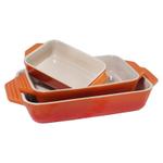 Le Creuset 3 Piece Flame Stoneware Rectangular Casserole Dish Set