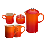 Le Creuset Flame Stoneware 5 Piece Coffee Service Set with Mugs and Cream & Sugar Set
