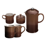 Le Creuset Truffle Stoneware 5 Piece Coffee Service Set with Mugs and Cream & Sugar Set