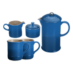 Le Creuset Marseille Blue Stoneware 5 Piece Coffee Service Set with Mugs and Cream & Sugar Set